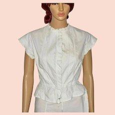 Edwardian White Cotton Lace Embroidered Camisole Crop Blouse Size UK 8