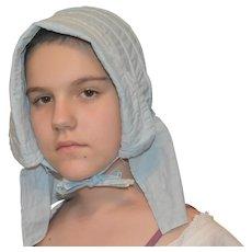 Victorian Blue Ladies Cottage Bonnet