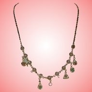Victorian Micro Mosaic Necklace set in Yellow Metal