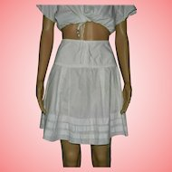 Victorian White Cotton Pleated Under Skirt Slip Size UK 8