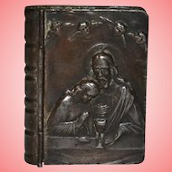 Religious Bible Shaped Copper Snuff Trinket Box