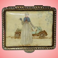 Vintage Ornate Hand Painted Victorian Lady Snuff Box Lipstick Case