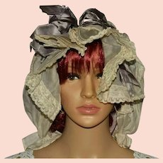 Victorian Cotton and Lace Bonnet With Lavender Satin Bow