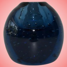 Victorian Blue Dump Glass Inkwell Paperweight