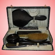 Antique Ebony Grooming Dressing Table Set of 8