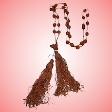Flapper Orange Silk and Glass Beads Tassels Necklace