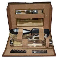 Antique Ebony and Glass Grooming Set in Crocodile Leather Case