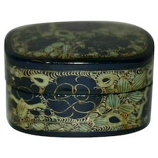 Vintage Lacquered Papier Mache Trinket Box Hand Made in Kashmir India