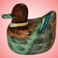 Vintage Papier Mache Lacquered Duck Trinket Box Hand Made Kashmir India