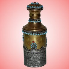 Antique Indian Ornate Brass and Copper Turquoise and Amber Bottle