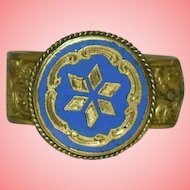 Antique Victorian Blue Enamel and Gilt Signet Hinged Brass Cravat Clip