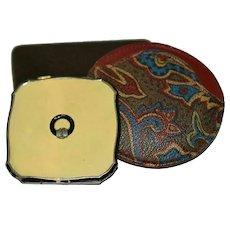 Vintage Marcasite Enamel Compact with Case