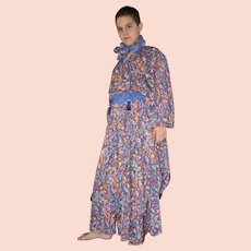 Vintage Diane Freis Blue Psychedelic Dress with Headscarf Size UK 12