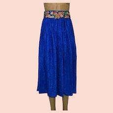 Diane Freis Blue Silk Pleated Skirt Size UK 12 US 10