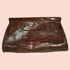 Brown Alligator Handbag Grab Bag