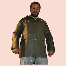 Barbour Khaki Hooded PVC Rain Trench Coat Size Medium