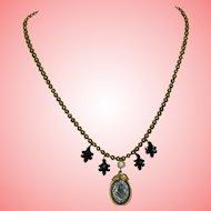 Antique Victorian Black Jade Necklace