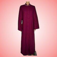 Vintage Fuchsia Long Wool Coat Size UK 12 US 10