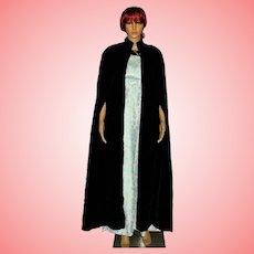 Black Velvet Full Length Cloak Cape One Size