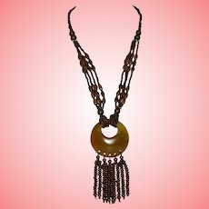 Vintage Egyptian Revival Brown Necklace