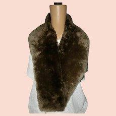 Vintage Brown Beaver Fur Collar Scarf