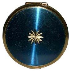 Vintage Stratton Blue Champleve Enamel Compact Mirror