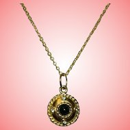 Antique Victorian Etruscan Gilt Pendant on Later Chain