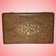 Vintage Wood Cigarette Box with Hand Carved Scroll Flowers
