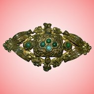 Antique Victorian Aesthetic Brass and Turquoise Brooch