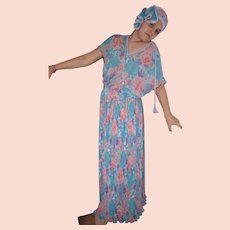 Vintage Diane Freis Georgette Dress Suit with Headscarf Size UK 12
