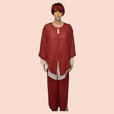 Vintage Diane Freis Spirit Silk Pants Suit Size UK 8