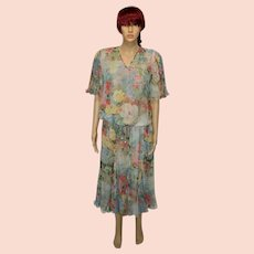 Vintage Suit by Diane Freis Green Floral Georgette Skirt Suit Size UK 14