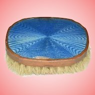 Art Deco Gold Cased Guilloche Enamel Royal Blue Vanity Brush