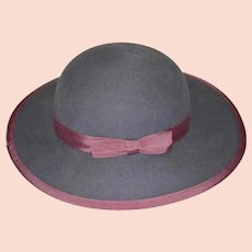 Bermona Wool Grey Hat with Pink Bow