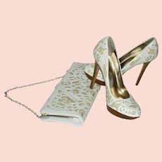 Dune White Laser Cut Pumps and Matching Clutch Bag