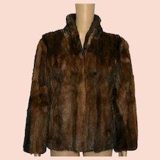 Vintage Mink Fur Coat 1970 Brown Crop Length Size UK 10