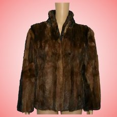 Vintage Mink Fur Coat 1970 Brown Crop Length Size UK 10