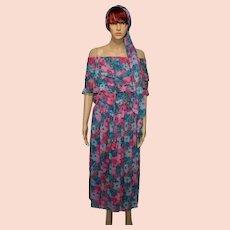 Vintage Diane Freis Prairie Georgette Dress and Headscarf Size UK 12