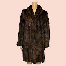 Vintage Mink Fur Coat 1960 Brown Size UK 12-14
