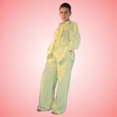 Vintage Linen Pants Suit by Oleg Cassini Lime Green Size UK 10