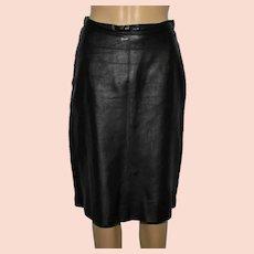 Vintage Real Leather Black Pencil Skirt Size UK 12-14