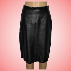 Vintage Real Leather Black Pencil Skirt Size UK 12-14