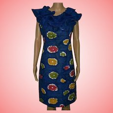 Pucci Vintage Evening Blue Dress Size UK 12-14