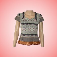 Blouse Authentic Thai Tapestry Multi Colour Top Size Medium