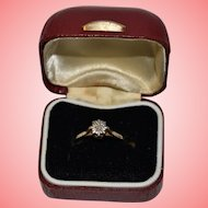 9 kt Gold Solitaire Diamond +VE Ring 1.40 grams Size Q