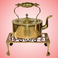 Antique English Brass Fireplace Kettle Teapot on Trivet Stand