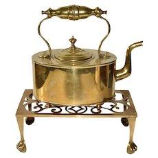 Antique English Brass Fireplace Kettle Teapot on Trivet Stand