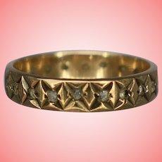 Edwardian 9 kt Gold Star Studded Eternity Wedding Band Ring