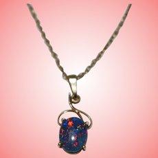 9 kt Gold Australian Fire Opal Necklace Man Made
