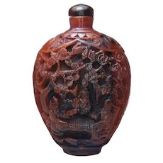 Chinese Cinnabar Carved Snuff Perfume Bottle